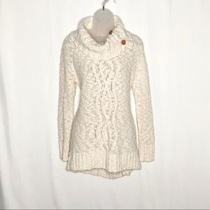 Moth NEW pom textured cable knit button turtleneck